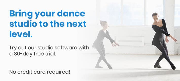 This is another image with a link to DanceStudio-Pro's dance studio software free trial. Investing in dance studio management software is one of our top tips for dance studio owners.