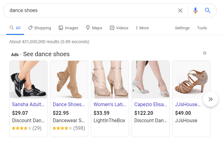 Shopping ads are another type of PPC ad you might pursue in your dance studio marketing plan.