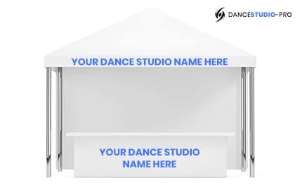This is an example of what your studio booth might look like at an event where you're conducting dance studio marketing efforts.