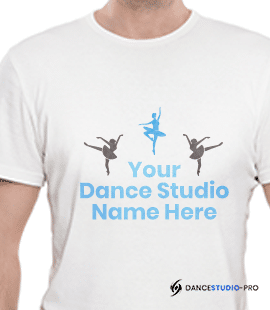 This is an example of a branded t-shirt you might sell to supplement your dance studio marketing efforts.