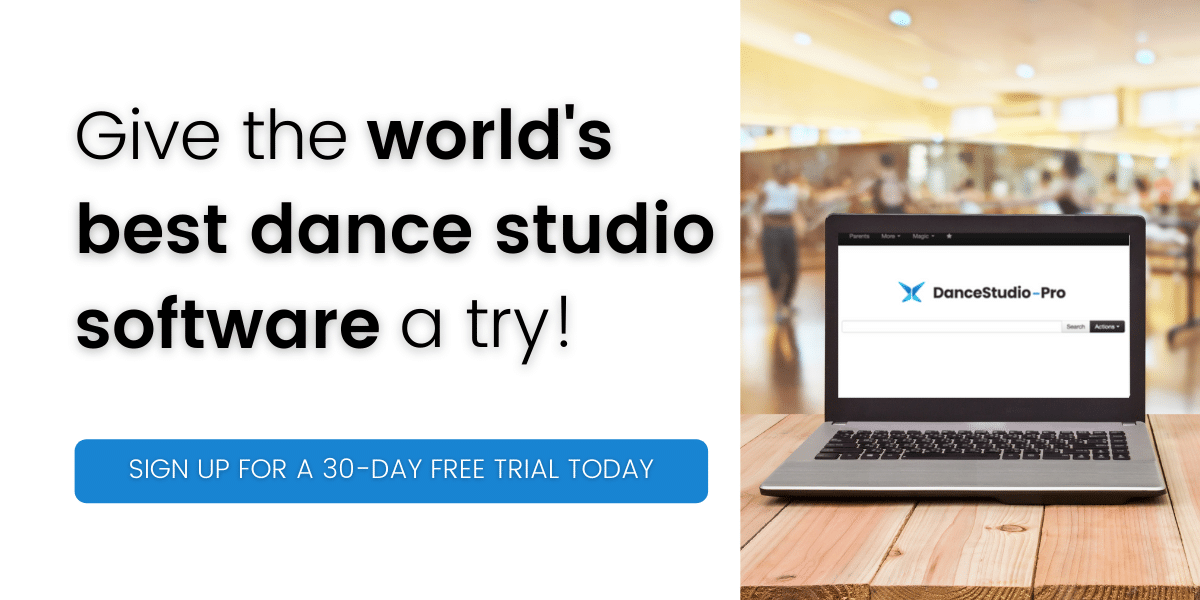give the world's nest dance studio software a try banner with computer with dance studio pro software